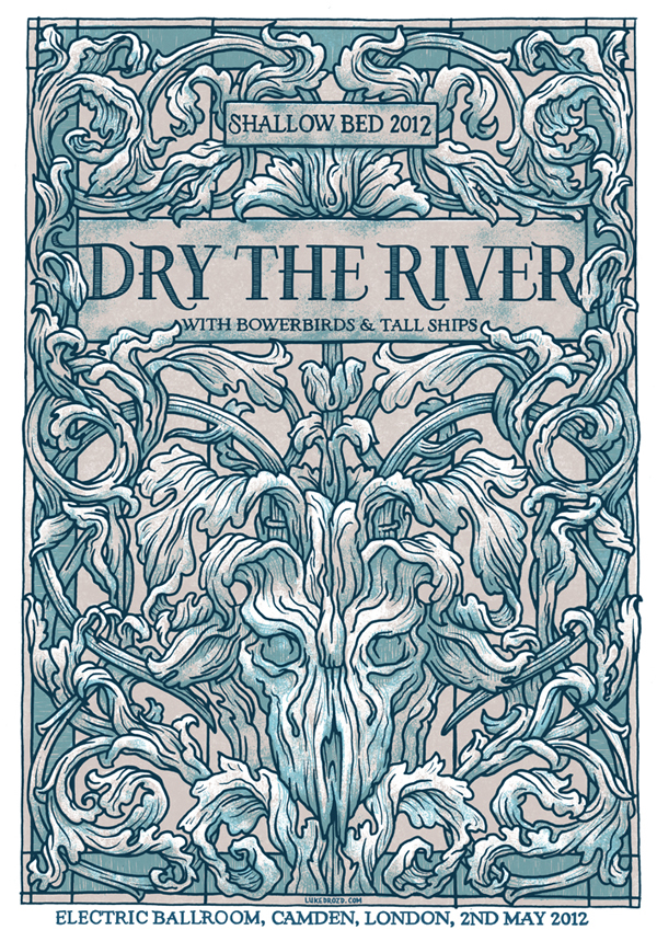 Dry the river poster for Arts and crafts movement graphic design