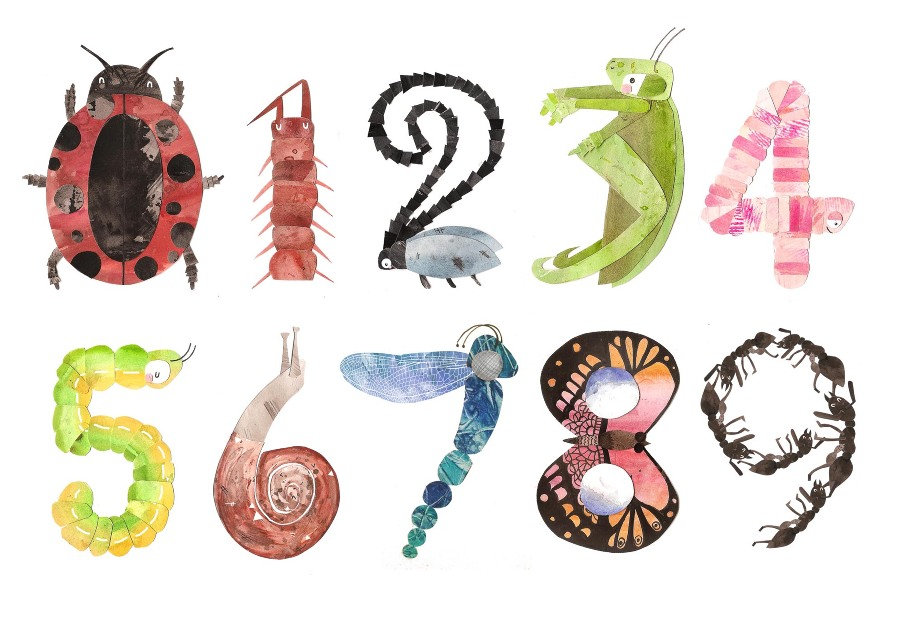 Lady With Birds >> Insect numbers - Hillustration